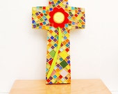 Mosaic Cross, Multi-color Floral Art Glass and Tile, Red and Yellow Flower