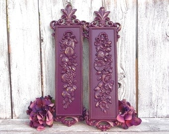 Dart Industries Mid Century Flower, Fruit and Nut Design Wall Set, Shabby Chic Upcycled Mid Century Wall Decor Painted Purple