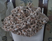 SALE OOAK Earth Tone Crochet Ladies Infinity Scarf, Handmade Winter Womens Scarf, ECS,