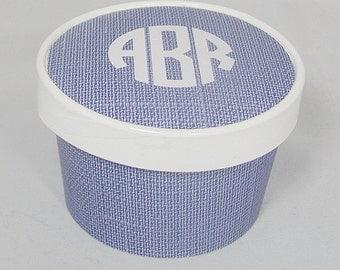 "Blue ""Linen"" Monogram Ice Cream Cup , Soup, Favor Cup with Lids - Set of 12"