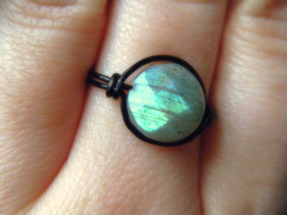 Faceted Labradorite Ring - Black Wire Wrapped - Blue Flame - Made to order
