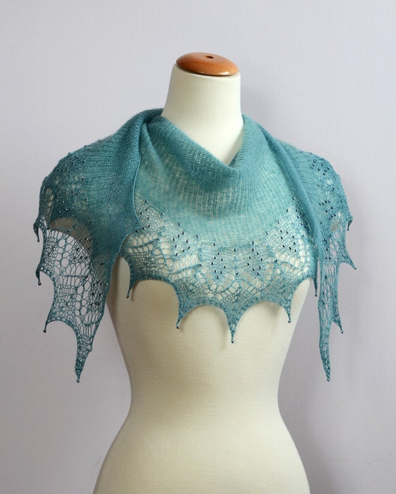 HANDKNIT LACE Glass Beaded SCARF In Turquoise  Fine Cashmere Silk Lana Merino Wool Yarn Blend  Elegant Wrap Stole Cowl Shawl Shawlette