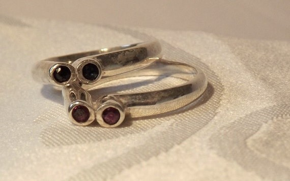 Vintage Ruby Sapphire Stacking Rings/Sterling Silver/Price Reduced