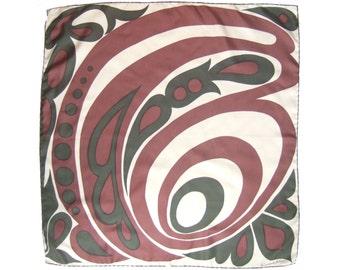 "Vintage Richard Allan silk scarf - signed bold psychedelic 60s print - hand rolled hem - Large 29"""