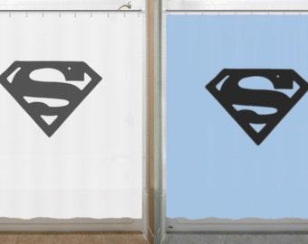 Superman Shower Curtain Chest S Logo Bathroom Decor Bath Kids New Blue  Color Now Available