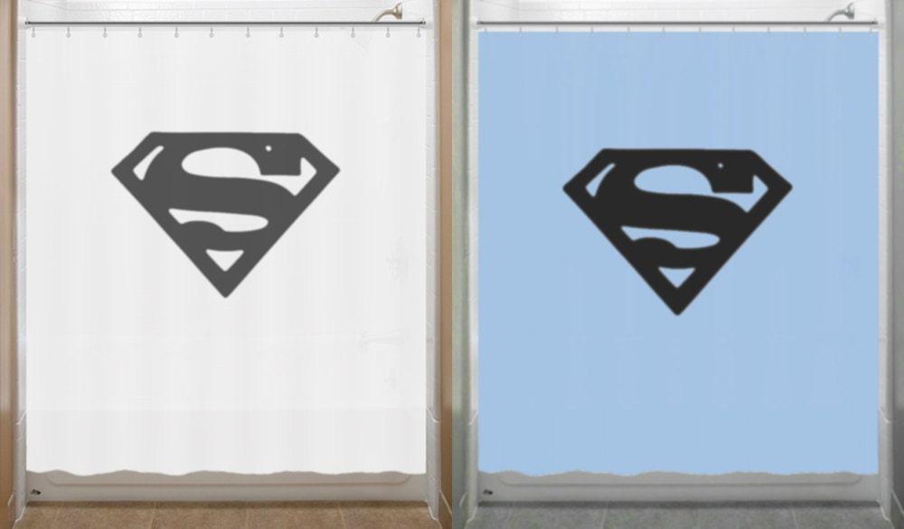 Superman Shower Curtain Chest S Logo Bathroom Decor Bath Kids
