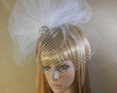 White Silver Birdcage Bridal Fascinator-Bridal Pearl and Crystals Fascinator