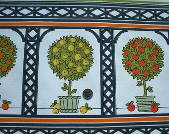 Vintage 1970s Fabric Backed Vinyl Wallpaper- Fruit Trees- by the yard