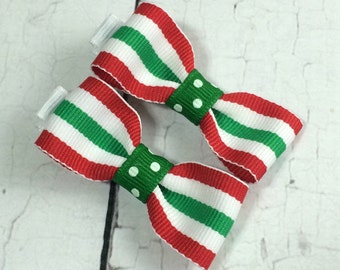Christmas Stripe Baby Hair Bows - NEW Small Hairbows - Tuxedo Bow - No Slip Grip- Baby, Toddler. Girls