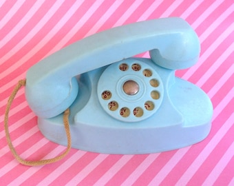 Vintage Kitsch 1950s Handi Craft St. Louis Mo Blue Princess Toy Telephone