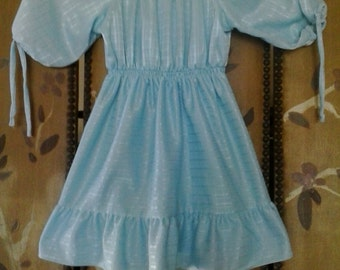 80s handmade turquoise girls dress