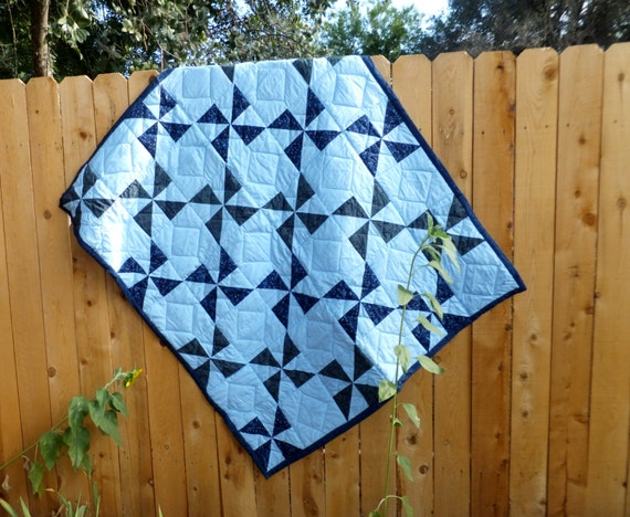 Blue Windmill Handmade Patchwork Hand Quilted ON SALE 25% off, Geometric Quilt, Wild Crow Farm's Mercantile