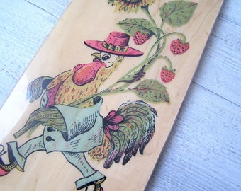 Rooster Wall Plate, Rooster Wood Sign Retro, Vintage Soviet Kitchen Art, Nursery Decor, Mid Century Thanksgiving Decor, Kitchen Wood Plaque