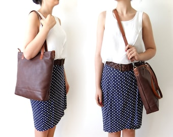 Leather Tote Bag in Dark Brown -  Light Brown Leather Handles - Adjustable Detachable Leather Strap - Zipper Closure