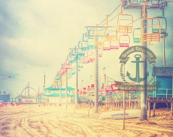 Seaside Heights Boardwalk Pastel New Jersey Beach Decor Fine Art Photograph At Checkout, Choose Lustre Print or Gallery Wrapped Canvas