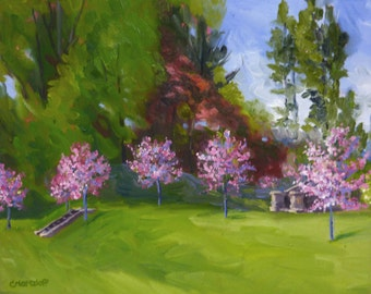 Colorful Redbuds Original Landscape Oil Painting
