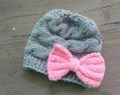 Baby Hat, Baby Girl Hat Newborn Hat Photo Prop, Baby Knit Hat Girl Knit Hat, Infant Hat Toddler  Girl Hat, Baby Bow hat,