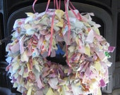 Spring Rag Wreath with Pink Ribbon