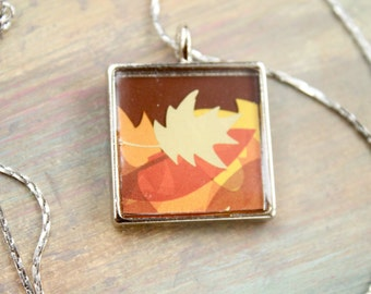 Upcycled Necklace, Recycled Jewelry, Resin pendant, autumn leaves