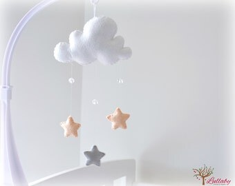 Star mobile - cloud mobile - white, peach and silver grey - baby mobile - nursery decor - MADE TO ORDER
