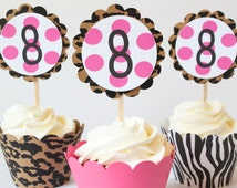 Animal Leopard Print Cupcake Toppers Rockstar Theme Party Pink Party Supplies Girls Rock Star Rocker Glam Tween Birthday Party / Set of 12