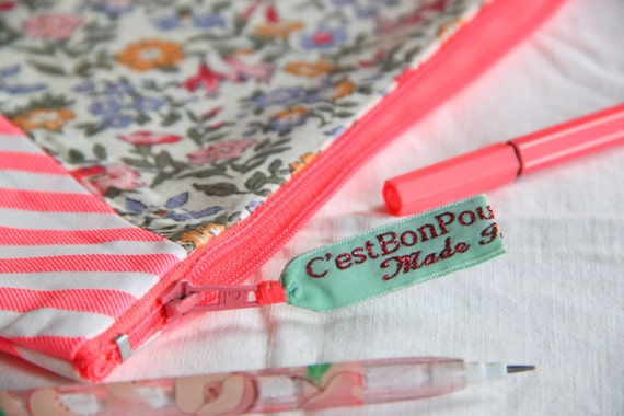 neon pink zipper pouch / girly gift / pink make up bag / flowers and stripes / cosmetic bag / spring gift