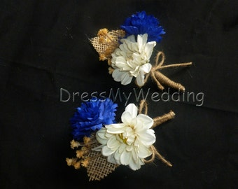 Rustic country corsage, cornflower daisy corsage with burlap, cobalt blue cream, wrapped with jute