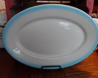 Vintage McNicol-Martin Restaurant Ware/Hotel Ware Platter Blue Airbrushed Rim