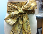 1920's inspired brocade obi belt, art deco gold black , paisley sash