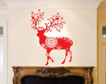 Deer Decoration, Deer Bust, Christmas Decoration, Snowflake Decoration, Holiday Decor, Vinyl Wall Decal, Removable
