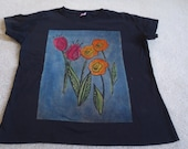 Original screen print with 2 reddish pink tulips and 3 orange poppies with a blue background, woman's large discharged, dyed, and printed