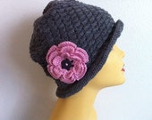 Woman Cloche Hats, Crocheted Woman Cloche Hat In Charcoal, Usa seller