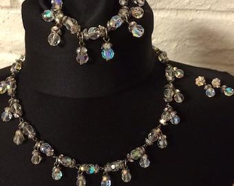 Stunning Vintage Aurora Borealis Crystal & Rhinestone Parure