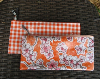 Set of 2 Zippered Oil Cloth Pouches--Pink Blossom Floral and Orange Gingham Check Cosmetic Bags--Purse Organizer--pencil pouch