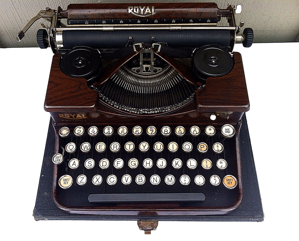 royal typewriter portable manual typewriter rare wood