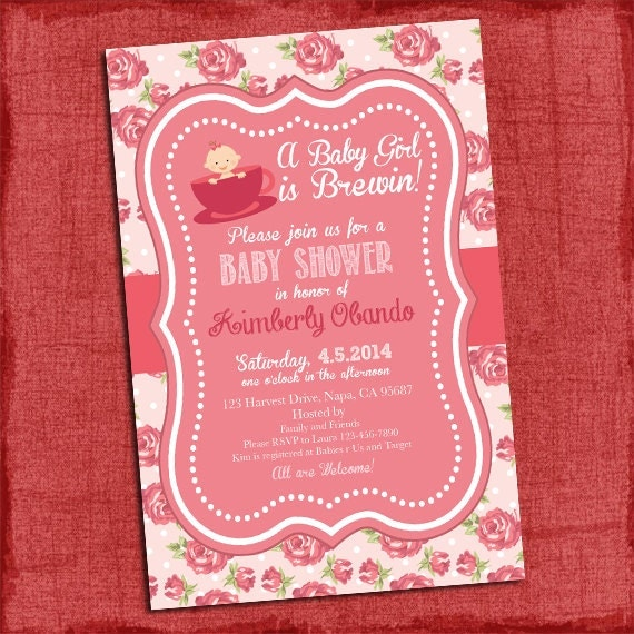 shabby chic baby shower invitation tea party baby shower baby girl