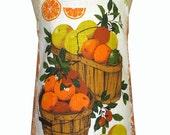 Metro Retro L'Orange California Vintage Tea Towel HANDMADE Apron   - OOAK, upcycled.  BIRTHDAY Christmas Gift  Idea