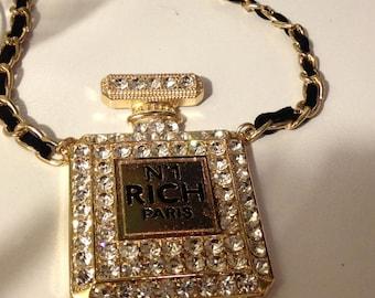 Designer Inspired Parfume Encrusted Rhintestone Necklace