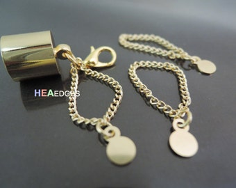 Finding - 6 pcs Gold Little Chain with Small Circle Charm for Jewelry Decoration ( Length 33mm )