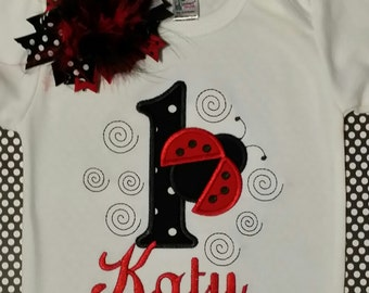 Ladybug  Birthday shirt and Matching Bow