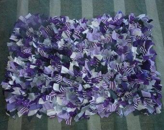 Recylced T Shirt Shag Rag Rug-Purples, White, Grays-Rectangular-Shaggy Rag Rug