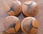 "Reserved for Megan Eversole 4 Ginkgo Leaf Cabinet Knobs 2"" Birch End Grain Pyrography Woodburning Set 1"
