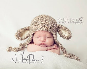 Crochet PATTERN - Crochet Lamb Hat - Crochet Patterns - Crochet Hat Patterns - Crochet Pattern Baby - 3 Sizes - Photo Prop Pattern - PDF 127