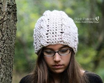 Crochet PATTERN - Slouchy Hat Crochet Pattern - Crochet Patterns for Women - Crochet Cable Hat Pattern - 3 Sizes Baby to Adult - PDF 260