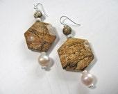 Gemstone earrings, Fresh Water Pearls, dangle earrings, handmade earrings