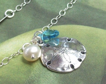 Sand Dollar Bracelet, Tropical Bracelet, Sterling Silver Bracelet, summer, small anklet, freshwater pearl, aqua, bridal, beach jewelry
