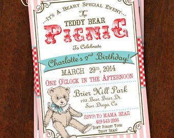 Teddy Bear Picnic Invitation Pink and Red Teddy Bear Picnic Party Teddy Bear Printable Invitation 5x7
