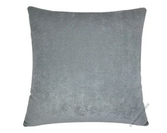"Gray Velvet Solid Decorative Throw Pillow Cover / Pillow Case / Cushion Cover / 18x18"" Square"