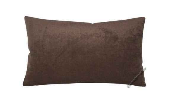 Chocolate Brown Velvet Decorative Throw Pillow by TheModernPillow
