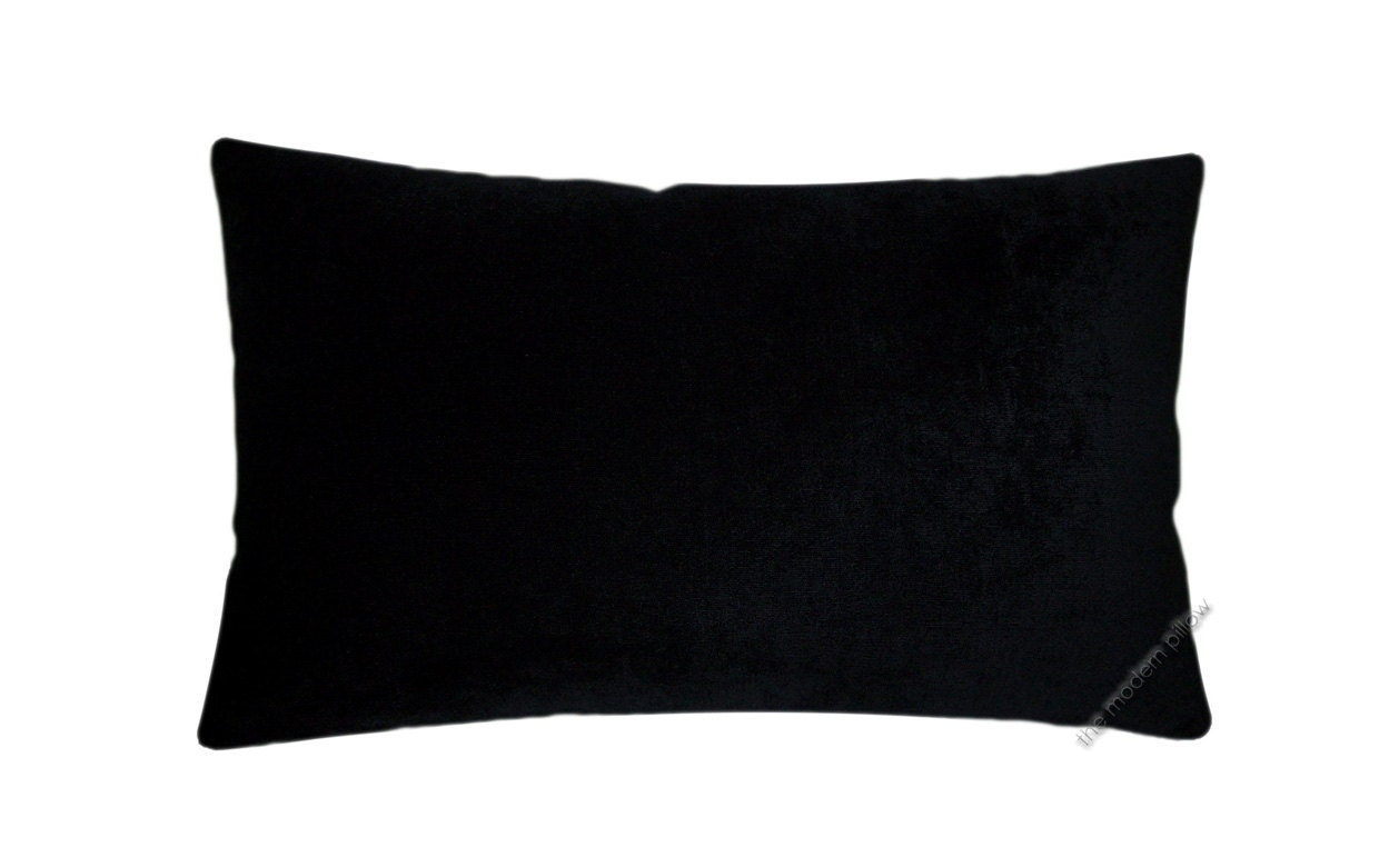 Plain Black Throw Pillow : Black Velvet Solid Decorative Throw Pillow Cover / Pillow Case